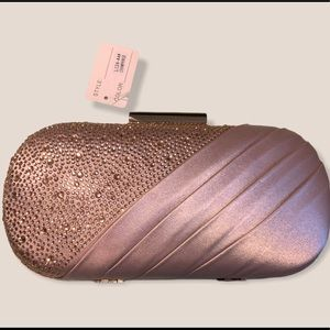 Champagne/Pink Crystal Clutch